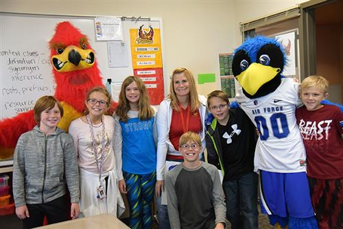 "Carrie Clay, teacher at FMS, is honored Sept. 21 by AFA in the ""Extra Yard for Teachers"" campaign."