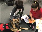Students read to Kona, emotional support dog.
