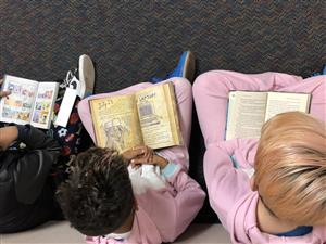 Students wear pajamas to take part in the All School Read.