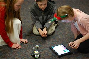 Students creating robots.
