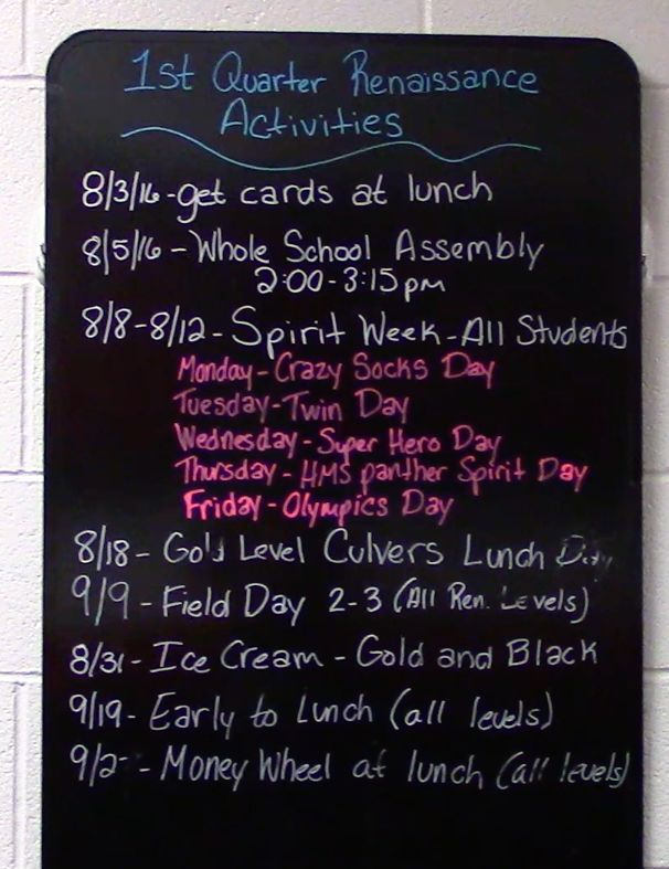 Our 2nd quarter schedule for Renaissance activities this quarter