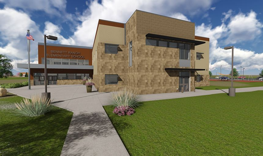 An architect's rendering of the main entrance to Bennett Ranch Elementary School.