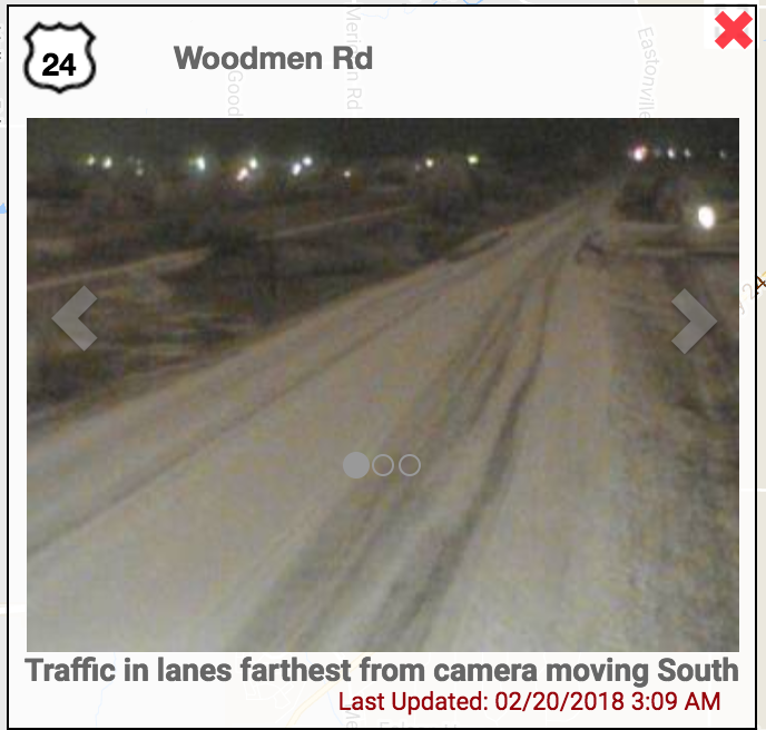 icy roads on Woodmen