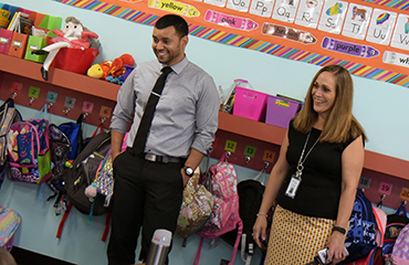 Leadership at SES visit classrooms on the first day of school Aug. 2.