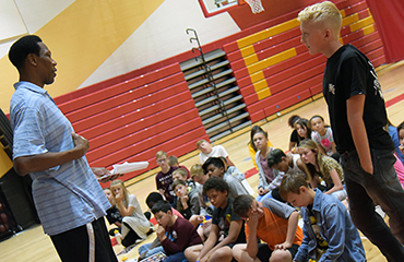 Former NBA player delivers motivational talk in Firebird Nation Sept. 18.