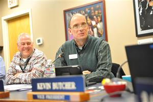 BOE members Rick Van Wieren (left) and Dave Cruson (right) interview John Koster Jan. 22