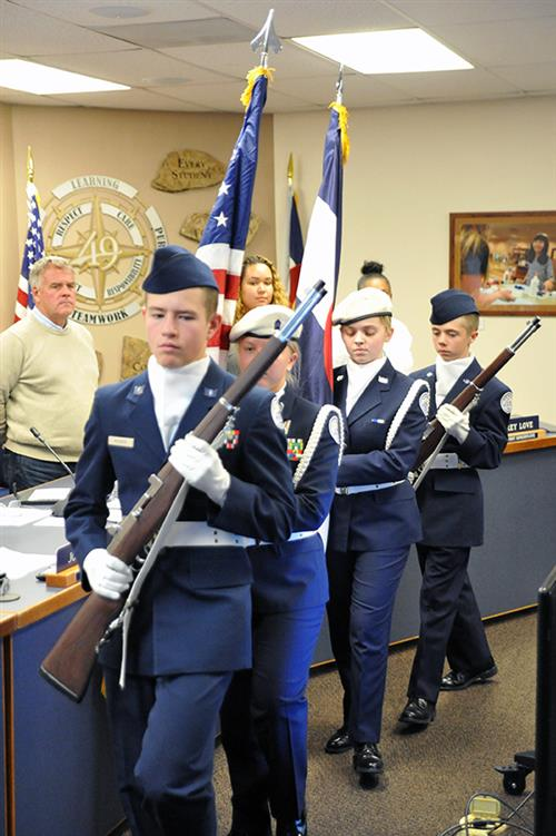 Falcon High JROTC cadets present the colors before Fantastic 49 Nov. 7.