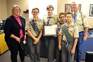 Troop #149 is honored during Fantastic 49 Nov. 7 for their work with the Sunrise Salute.