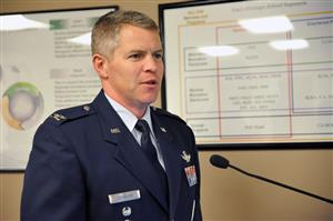 Col. Sam Johnson, Peterson AFB, remarks about partnership with D49 during Fantastic 49 Nov. 7.