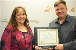 Kathy Tarry, CLDE teacher, receives accolades during Fantastic 49 Feb. 13.
