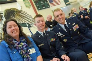 The Gull Family participates in Veterans Day fanfare at Falcon High School Nov. 11.