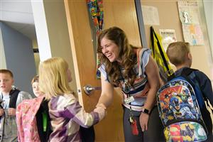 Teachers personally greet students every day at Ridgeview Elementary School.