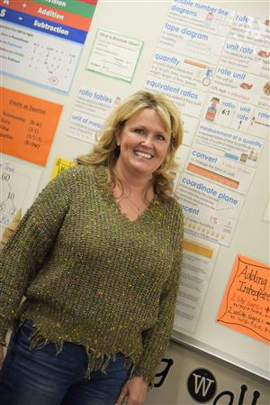 Corinna Owen, FMS math teacher, adapted her learning wall for a virtual learning environment.