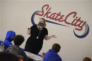 Marie La Vere-Wright shares a STEM presentation with SSAE students March 10.
