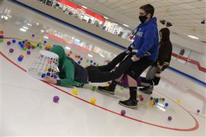 SSAE students participate in a Hungry, Hungry Hippos game March 10 at Skate City.
