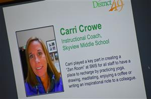 Carri Crowe, employee at Skyview MIddle, is honored during Fantastic 49 festivities Jan. 14.