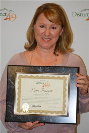 Pam Traylor from Evans Elementary School receives accolades during the Feb. 11 Fantastic 49.