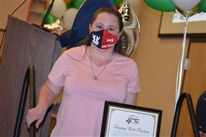 Kim Sherman, bus paraprofessional, attends the April 8 Fantastic 49 celebration to receive accolades.