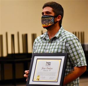 Jesse Tomkins, teacher at PEAK Education Center, is honored during Fantastic 49 Aug. 13.