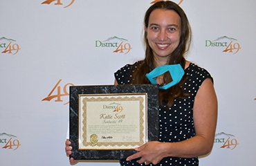 Katie Scott, ALLIES staff member, is honored during the Sept. 23 Fantastic 49 presentation.