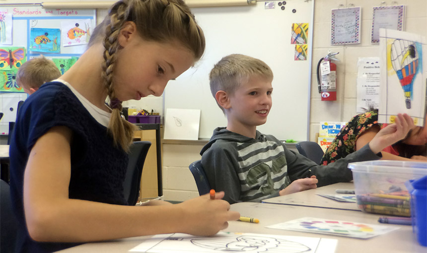 Fourth Graders Focus on Color Theory During Arts in Education Week
