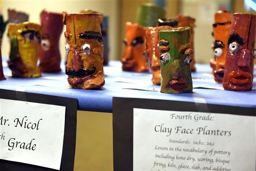 Fourth-grade clay face painters