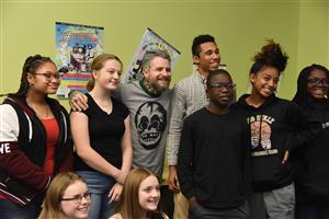 Davey with HMS students