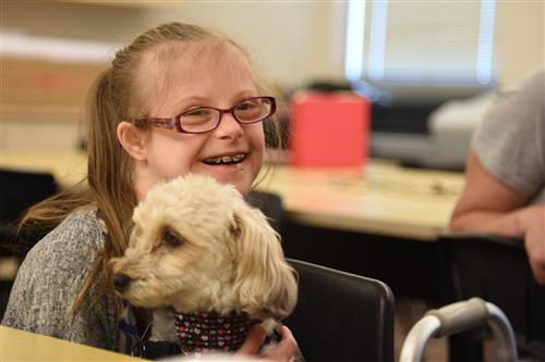 Therapy Dogs with student