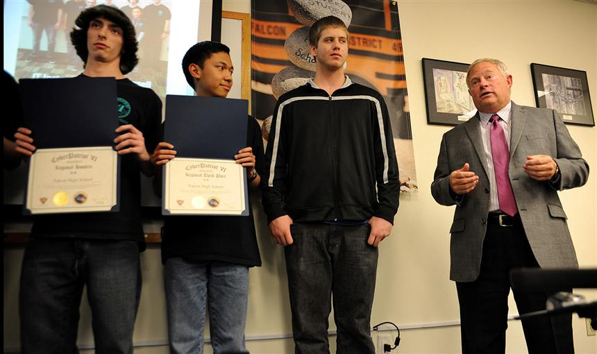 District 49 BOE Honors Falcon High School CyberPatriot Team