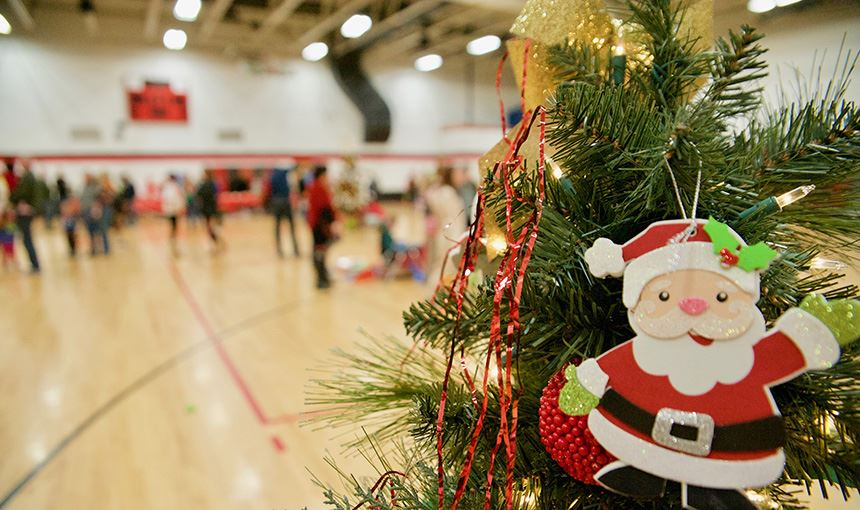 The JOI Club turned the HMS gym into a Christmas wonderland Dec. 8. for its annual day of service.