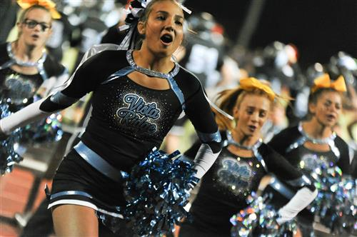 VRHS cheerleaders cheer on the Wolves during the homecoming game Sept. 27