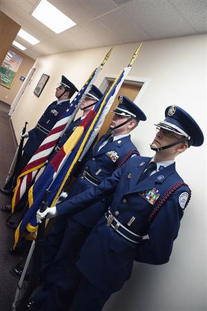 ROTC cadets from SCHS stand ready to present the colors before Fantastic 49 festivities Dec. 13.