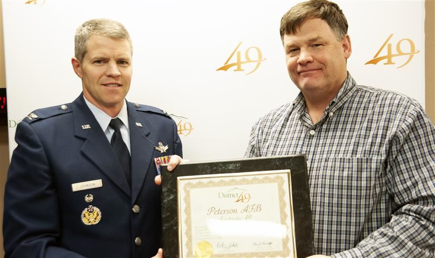 District 49 honors Peterson AFB Dec. 13 during Fantastic 49 festivities before regular BOE meeting.