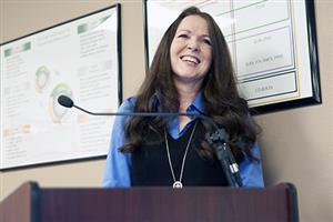 V. Michelle Garrett, accounting technician, receives accolades during Fantastic 49 festivities Feb. 14.