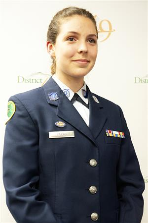 Emma Passig, FHS ROTC cadet, is recognized during Fantastic 49 March 27 for earning a pilot training scholarship.