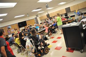 Jill Talbot's seventh-grade science classroom bustles with activity on the first day of school