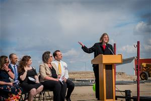 D49 BOE President Marie Lavere-Wright speaks during school groundbreaking