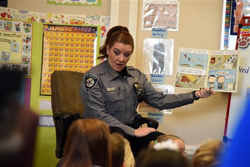 EPSO deputy Kristina Kerl reads to MRES students Dec. 1.