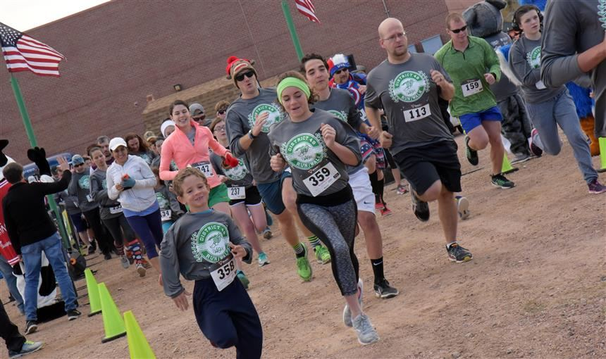 Runners and walkers at the first D4.9K Run/Walk, Sat., Nov. 4 at Stetson Elementary School.