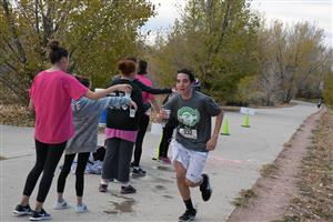Nicholas Abrego doesn't stop for a water break at the D4.9K Run/Walk, Sat., Nov. 4 at Stetson Elementary School.