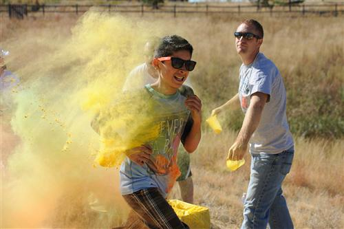 Sixth-grader Michael De La Torre, 11, participates in a color run Sept. 25 at Pikes Peak School of Expeditionary Learning.