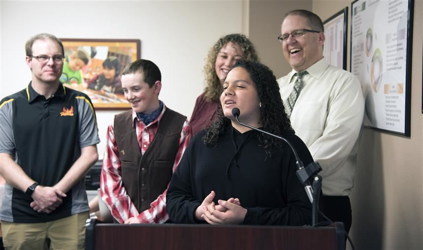 Helen Mosquera, 13,  is honored during Fantastic 49 Feb. 8 prior to monthly Board meeting.