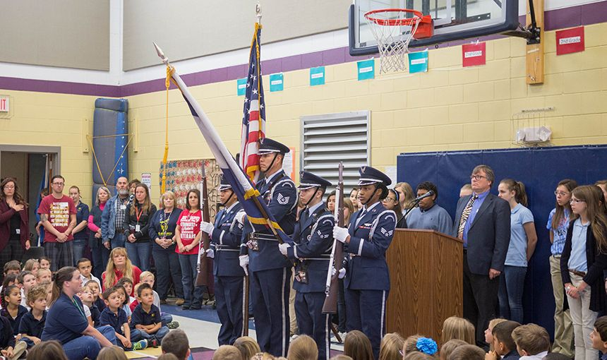 A U.S. Air Force color guard presents the colors at a Veterans Day assembly Nov. 11.