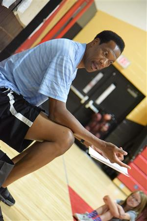 Edwin Johnson, former NBA player, visits Falcon Middle School Sept. 18.