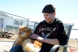 "Eighth-grader Hezzy Barela, 13, pets a rescued dog during a ""puppy party"" at the National Dog Mill Rescue March 11."