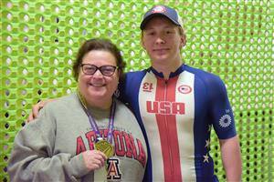 Jacob Waters, SSAE student and para-cyclist, with Jodi Fletcher, principal, at the school March 15.