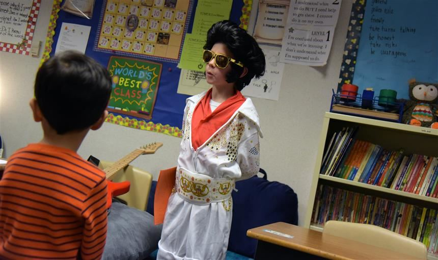 Cohen Whiteland, 10, fourth-grader, participates as Elvis in the wax museum event May 15 at SES.