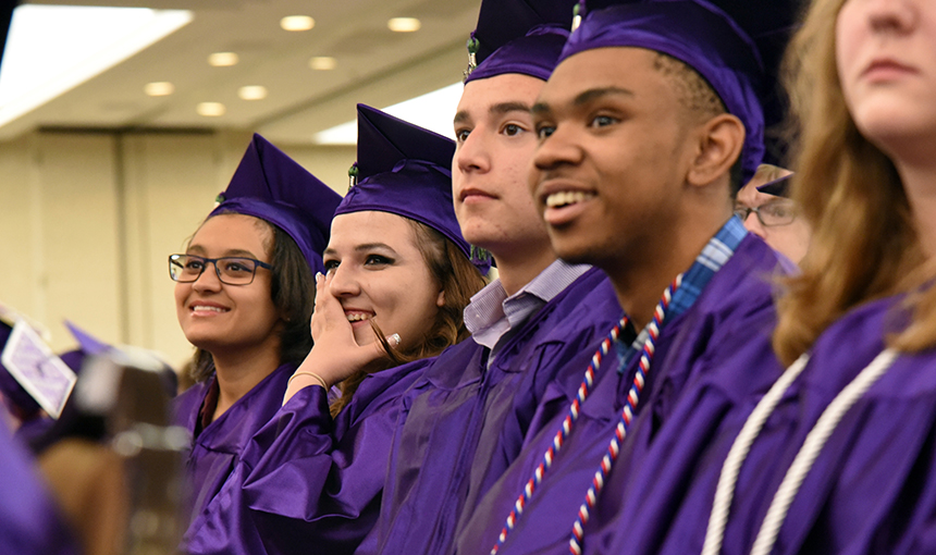 SSAE Class of 2017 graduates react during a senior video May 19.
