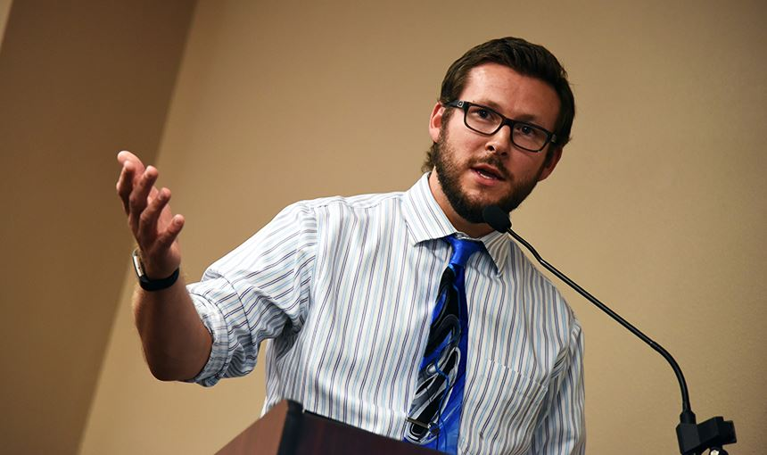 Nathan Pearsall, VRHS social studies department chair, addresses BOE directors Aug. 10.