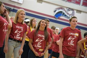Link Crew members provide a warm welcome for SCHS's newest scholars at freshmen orientation Aug. 1.